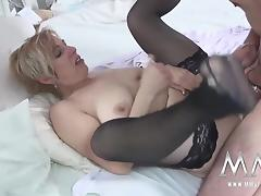 Busty blonde German mature housewife gets fucked hard by
