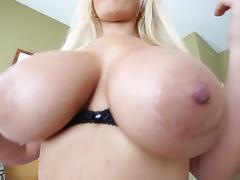 Big tits blonde Bridgette B gets cumshot on face after blowjob and titjob