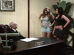 Two babes seduce their boss in his office and fuck him on his desk