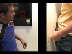 Salacious homo gets his asshole drilled through a gloryhole