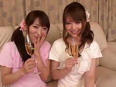 Naughty Japanese hot stud fucks horny porn ladies in pov bang threesome
