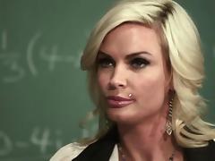Depraved blond teacher Diamond Foxxx rides a wang at her work place