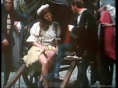 Hot retro slut sucking dick and riding cock in Elizabethan dress