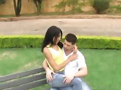 Slender Brazilian brunette with natural tits enjoys getting pounded hardcore
