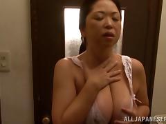 Lovely porn sweetheart Natsuko Kayama gives huge cock a hot blowjob
