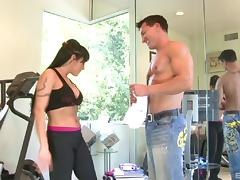 This horny housewife gets worked out and fucked by her trainer