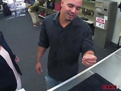 Customers wife fucked by perv pawnkeeper in the backroom