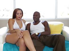 Hot babe in a white bikini chats with Lexington Steele