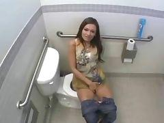 Nice fucking in public bathroom