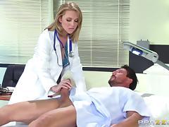 blonde doc treating a patient's big boner