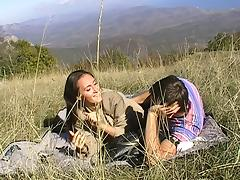 Viktoria in outdoor video showing an amateur nude gal fucking