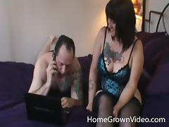 Double teaming a chubby mature chick with tattoos on her tits