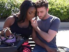 Curvy ebony cowgirl drinks cum after getting ass fucked in interracial shoot