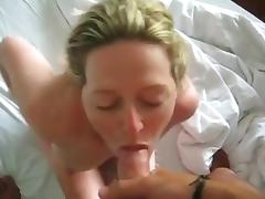 Pretty blonde gets her face plastered with cum