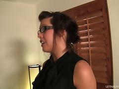 Babe in the office bathroom sucks that gloryhole cock