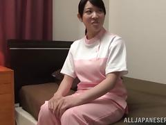 Busty Japanese girl's tits jiggle as she grinds on a cock