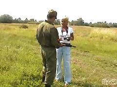 Soldier meets a blonde and fucks her out in the great outdoors