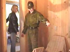 On leave this military guy lays the pipe to a horny blonde