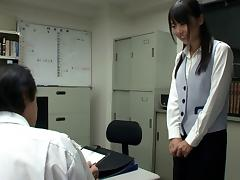 Japanese secretary eaten out by her eager boss at work