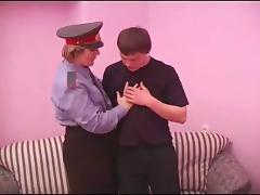 Dashing officer gets a cock to suck then ride hardcore till orgasm