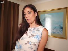 Sexy British housewife and mom plays with her shaven pussy