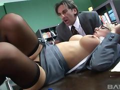 Lustful office bombshells get their juicy cunts poked