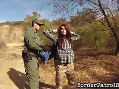 Border patrol officer fucks a sexy redheaded immigrant