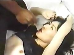 Cute Asian slut have fun with 2 BBC
