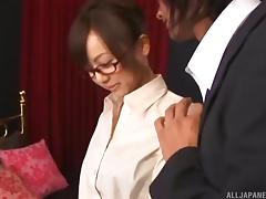Naughty Asian businesswoman gives the pussy to her boss