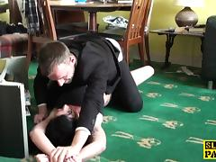 Deepthroating sub fucked hard after wrestling