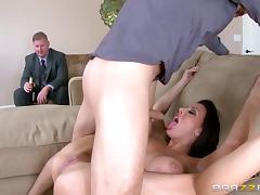 Busty brunette wife with a big ass gets fucked while hubby watches