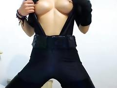 Sexy Girl in Catsuit plays