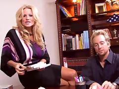 Office interracial threesome with a black chick and the boss