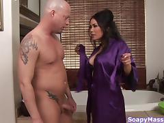 Military dude receives a hot handjob from an Asian masseuse