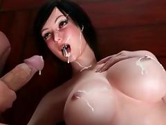 3D swimsuit futanari hot fucked on the gym ball