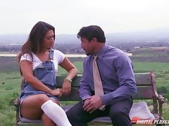 Fat dick guy fucking sexy Eva Lovia on a park bench