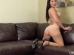 Amazing ass London Keyes teases in pantyhose and fucks a toy