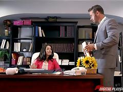 Office penetration for the sexy Eva Lovia and her tight love tube
