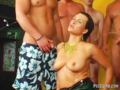 Kinky European MILF gets banged by a group of men and pissed on