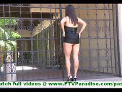 Zoey cute amateur latina with no panties masturbating with heel of shoe outdoors