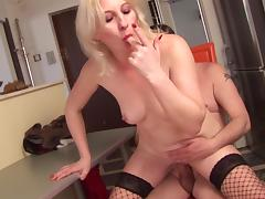 Blonde melts in bliss as she savors a rough doggystyle bang by an elderly hubby