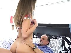 Alluring Teen Liza Rowe Rides Dads Hung Boss