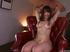 Rena's eyes are blindfolded and her cunny attacked with sex toys