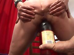 Granny decides to furiously masturbate and to give the guy a blowjob