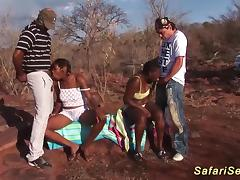 Extreme wild african safari sex orgy with hot chocolade deepthroat loving babes