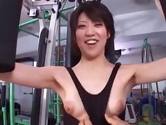 Gorgeous Japanese hussy simply loves being nailed in the gym