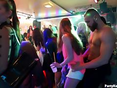Drunken babes and the muscular dudes having sex at the party