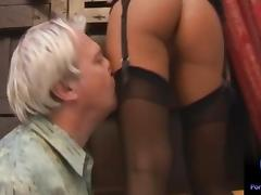 Valentina Velasquez gives sensual footjob to grandpa