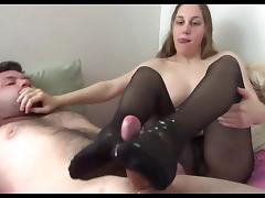 giving footjob and cum