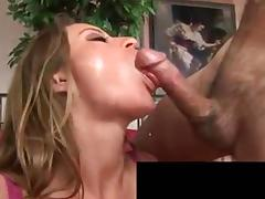 Busty brunette gets her muff licked before hunk bangs her